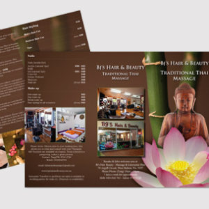 image of Leaflet design for hair and beauty company