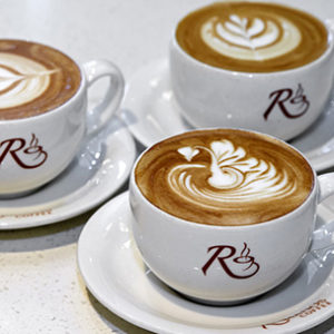 Romanos coffee cups logo design